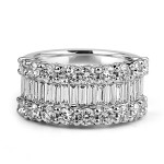 18K W/G Baguette & Round-Cut Diamond Half Eternity Band