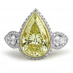 18K W/G Pear-Cut Fancy Yellow Diamond Engagement Ring