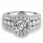 18K W/G Round-Cut Diamond Halo Engagement Ring