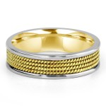 14k two-tone y/g & w/g roped mens band