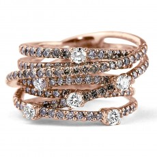 14K R/G Overlapping Bands of Diamonds Fashion Ring