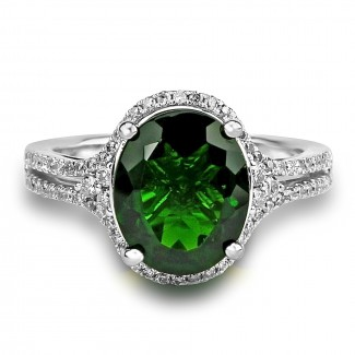 14k w/g oval green tourmaline cocktail diamond ring