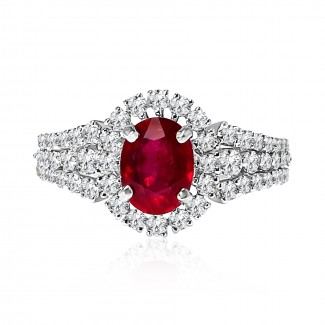 18k w/g diamond & ruby halo ring 2.62ctw