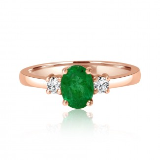 14k r/g emerald & diamond ring 1.50ctw