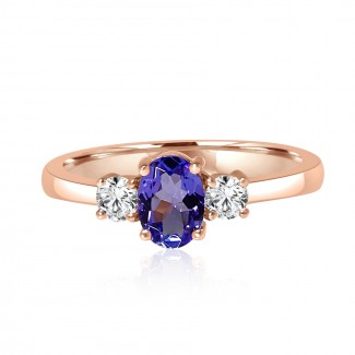 14k r/g oval tanzanite diamond accent engagement ring 1.02ctw