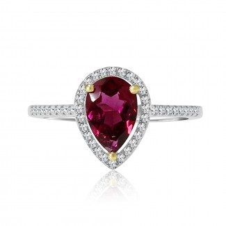 14k w/g diamond & pink tourmaline ring 1.40ctw