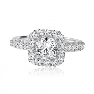 Platinum round diamond halo engagement ring 1.10ctw