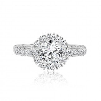 14k w/g round cut halo diamond engagement ring 1.71ctw