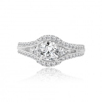 18k w/g round diamond halo engagement ring 1.11ctw