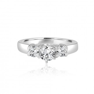 14k w/g 3-stone solitaire diamond engagement ring