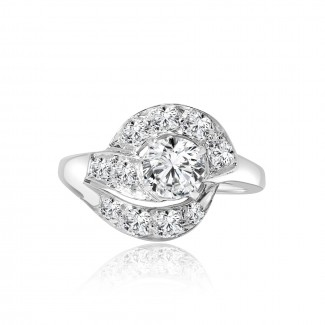 14k w/g diamond halo engagement ring 1.50ctw