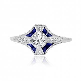 platinum diamond & sapphire vintage engagement ring 0.65ctw