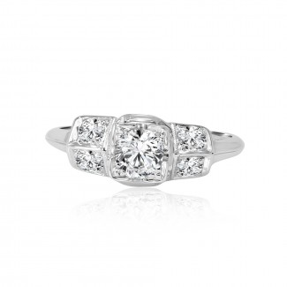 18k w/g vintage diamond engagement ring 0.75ctw