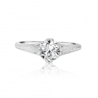 platinum vintage solitaire engagement ring 0.90ctw