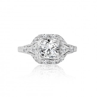 platinum diamond antique engagement ring 1.00ctw