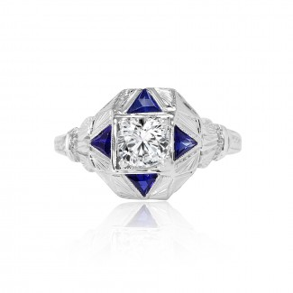 platinum antique diamond & sapphire engagement ring 1.60ctw