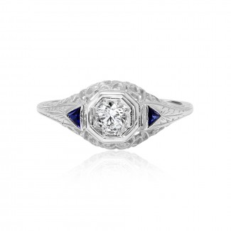 18k w/g antique diamond & sapphire trapezoid engagement ring