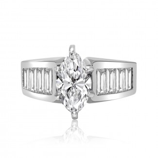 14k w/g marquise cut diamond engagement ring with baguettes on the band 1.54ctw