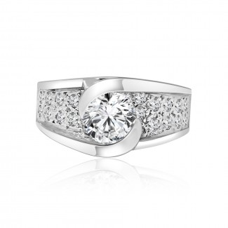 Platinum round cut Diamond engagement Ring 2.60ctw