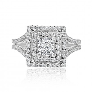 18k w/g princess cut double halo diamond engagement ring 1.23ctw