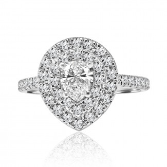 14k w/g pear cut double halo diamond engagement ring 2.00ctw
