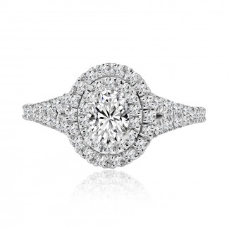 14k w/g oval double halo diamond engagement ring 1.01ctw