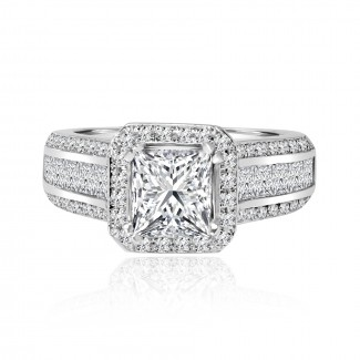14k w/g princess cut square halo diamond engagement ring 1.50ctw