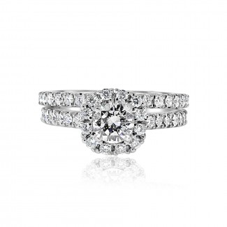 14k w/g round diamond halo engagement ring with matching band