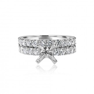 18k w/g solitaire diamond setting with matching band 1.57ctw