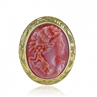 18k y/g antique Victorian cameo lady's brooch