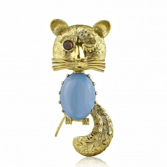 18k y/g Persian turquoise and tiger eye brooch 8.00ctw