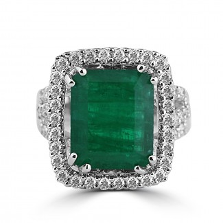 14k w/g emerald halo diamond cocktail ring
