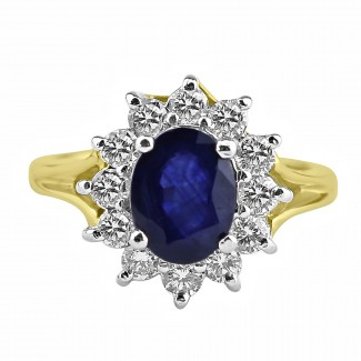14K Y/G Oval-Cut Sapphire and Diamond Ring