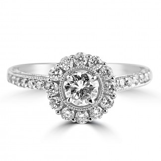 18K W/G Round-Cut Diamond Halo Engagement Ring French Design