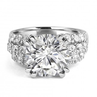 18K W/G Round-Cut Diamond Scalloped Engagement Ring