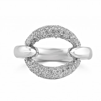 18K W/G Single Link Diamond Fashion Ring