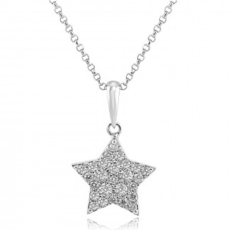 14K W/G Star Diamond Pendant