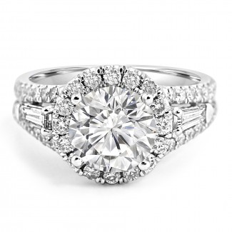 18K W/G Round-Cut Diamond Halo and Baguette Engagement Ring