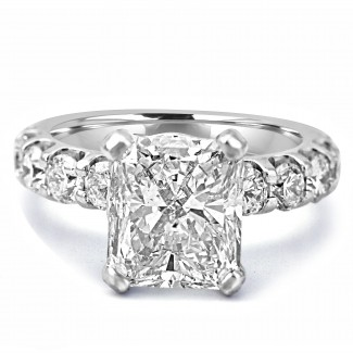 18K W/G Radiant-Cut Diamond Engagement Ring