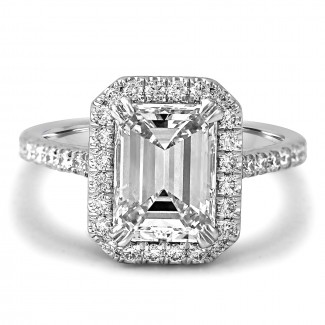 18K W/G Emerald-Cut Halo Diamond Engagement Ring