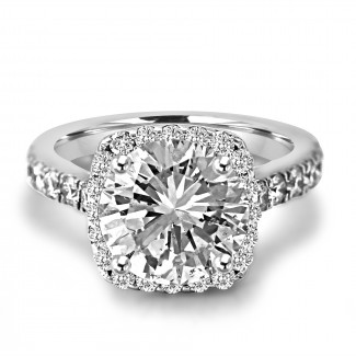 18K W/G Round-Cut Diamond Cushion Halo Engagement Ring