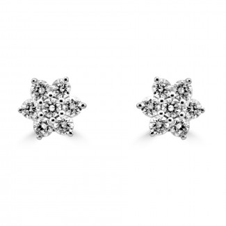 14k w/g diamond flower cluster stud earrings