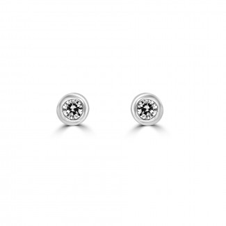 14k w/g round-cut diamond bezel stud earrings