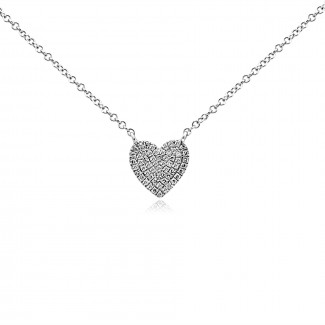 14k w/g pave diamond heart necklace