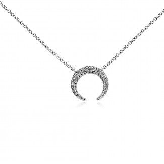 14k w/g diamond horseshoe necklace