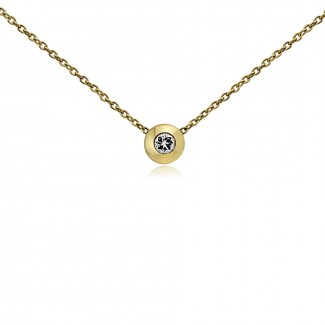 14k y/g diamond bezel necklace