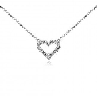 14k W/G Open Heart Diamond Necklace