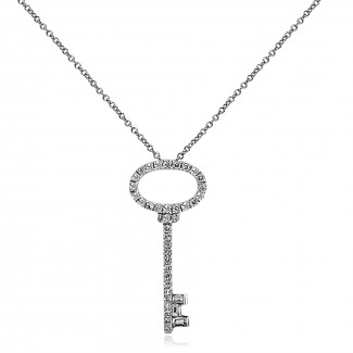 14k w/g diamond key necklace