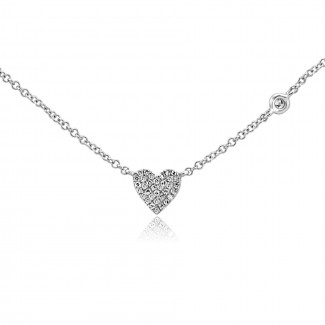 14k w/g diamond pave heart necklace with a diamond bezel on the chain