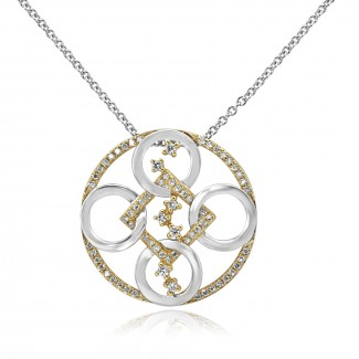 14k two-tone y/g & w/g geometric diamond necklace
